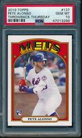 2019 Topps Throwback Thursday #137 Pete Alonso RC SP PSA 10 Gem Mint Rookie Card
