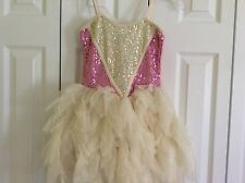NEW! OOH LA LA COUTURE WOW! SWEET HEART TULLE DRESS IVORY/PINK GIRLS 8 $149.00+
