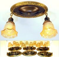 6 MATCHING Victorian Arts Crafts Brass & Glass 2 Light Ceiling Fixtures -3 PAIR!