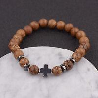 Men Women Hot Hematite Cross Wooden Bracelets Stretchy Bracelet Beads Wooden