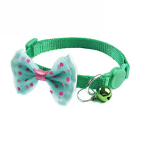 Dotted Bow-Tie Breakaway Cat Collar Kittens Safety Release Bell Cute Pet Cats UK
