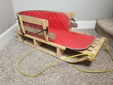 """LL Bean Pull Sled Kid's 40"""" Wooden Baby Sleigh Toboggan W/ Quilted Cushion"""