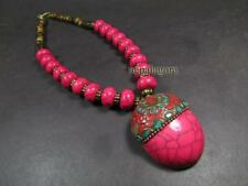 N4857 TIBETAN FASHION Bold tribal RUNWAY Gypsy Resin bead Pendant NECKLACE India