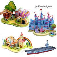learning 3D DIY Puzzle Assembling Paper Toy Castle Model Cartoon House Jigsaw