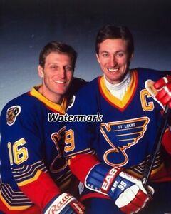NHL 1995 - 95 St. Louis Blues Brett Hull & Wayne Gretzky Color 8 X 10 Photo Pic