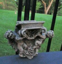 Vintage Small Cement Garden Statue Hanging Plaque Angel Cherubs holding Book