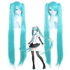 "VOCALOID Hatsune Miku 47"" Super Long Blue Cosplay Wig 2 Ponytails Women Hair Wig"