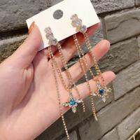 Charm Women Long Tassel Rhinestone Crystal Ear Stud Drop Dangle Earrings Jewelry