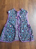 Vintage Childs Smock Hand-made Apron Vest w/Ties Fits sz 5/6 Retro Fun Fabric