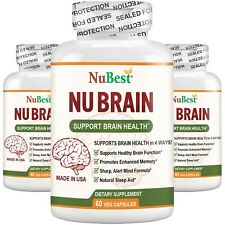 Pack of 3 NuBrain Support Brain Health & Cognitive Functions, Enhance Memory