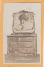 Real Photo Postcard RPPC - Surreal Montage Woman in Dresser Mirror Stadler Photo