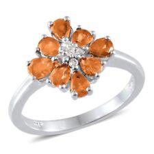 Natural Hessonite Garnet & Diamond Ring in Platinum Over Sterling Silver