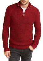 INC Mens Sweater Red Size Medium M Quarter-Zip Marled Pullover Knit $59 #018