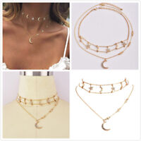 1Pc Gold Plated Multi-layer Crystal Rhinestone Choker Star Moon Pendant Necklace