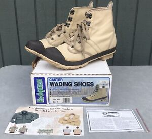 NEW Hodgman Caster Wading Shoes Size 10 Style 19200 Canvas Tan Steel Shank Boots