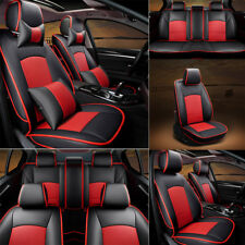 Car Seat Covers Cushion For Ford F-150 2010-2015 PU Leather Full Set Black+Red