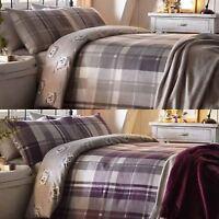 Flannelette Duvet Covers 100% Brushed Cotton Tartan Hedgehog Quilt Bedding Sets