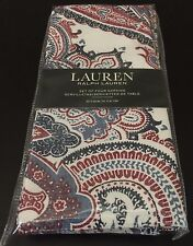 Ralph Lauren LAVEEN PAISLEY RED Cotton 4pc DINNER NAPKINS Red Blue White NWT
