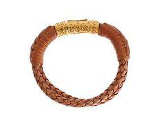 NWT $350 NIALAYA Authentic Men's Bolo Cord Leather 18K Gold 925 Bracelet s. M
