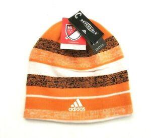 Adidas Men's Houston Dynamo MLS Reversible Beanie Knit Cap Orange/White OSFM