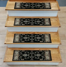 """Rug Depot 13 Traditional Non Slip Carpet Stair Treads 26"""" x 8"""" Black Stair Rugs"""