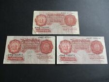 More details for b266 - 3  bank of england 10/- shilling notes - p.s.beale -  k83z , j88z , j95z