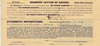 U. S. Bankers Letter of Advice The Credit Company 1904  Returned Slip Ref 39360