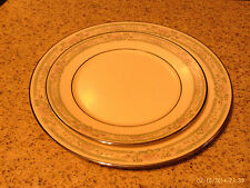 LENOX CHARLESTON CHINA SALAD & BREAD BUTTER SILVER TONE TRIMMED PLATE VGUC