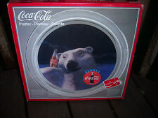 "Beautiful Vtg Coca Cola Coke 1990 Xmas Glass 13"" Polar Bear Serving Platter"