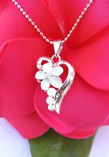 Hawaiian Jewelry 925 Sterling Silver Heart Plumeria CZ Pendant Necklace SP53401