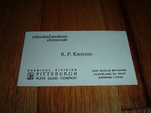 PITTSBURGH PLATE GLASS/Columbia VINTAGE Business Card