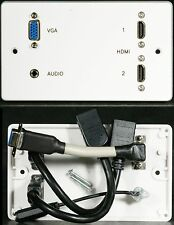 AV Wall Plate, 2 x HDMI / VGA Video / 3.5mm Stereo Audio Jack Sockets, 3M Cables