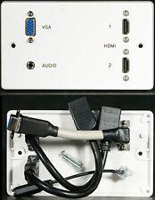 AV Plaque murale, 2 x hdmi / vga vidéo / stéréo 3,5 mm jack audio sockets, 3M Câbles