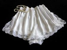 Lacy White Satin French Knickers XL NEW Soft Silky Drapey Panties Vintage Style