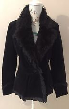 Almost Famous London Black Soft Cord With Faux Fur & Frill Trim Jacket Size 10