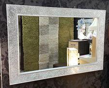 Crackle Diseño Espejo de pared Liso Marco plata Mosaico vidrio 120x80cm hecho a