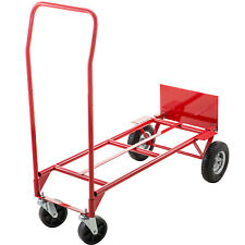 Hand Truck Convertible Dolly 200lb300lb With 8inch Pneumatic Wheels In Red