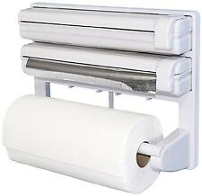 Triple Paper Dispenser for Cling Film Wrap Aluminium Foil Kitchen Roll Holder