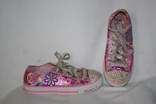 Skechers Twinkle Toes Girls  Sneakers Size 2 Pink Purple White Tennis Shoes