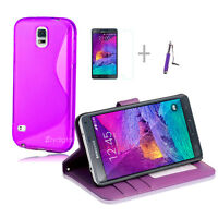 PURPLE Wallet 4in1 Accessory Bundle Kit Case Cover For Samsung Note 4 N9100
