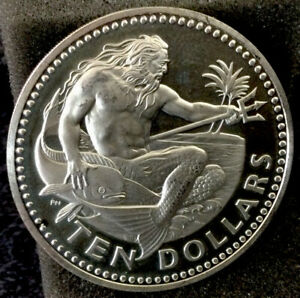 Large World Silver Coin - Unc. 1973 Barbados 10 Dollar Proof #352