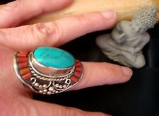 Grande BAGUE MIXTE en CORAIL TURQUOISE Bijoux Tibetain Népalais ARTISANAL Navajo