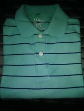 L.L. Bean Men's 100% Cotton Short Sleeve Striped Polo Shirt Small