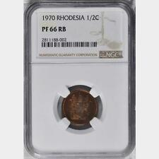 1970 Rhodesia 1/2 Cent, NGC Proof 66, RB, Superb, Zimbabwe, None Finer @ NGC
