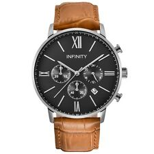 Infinity SP 02 Black + Tan Brown Men's Classic Chronograph Watch-Designer Watch