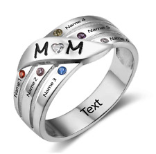 Size 9 Mum Groove Family Birthstone Ring, 925 Sterling Silver, Names & Engraving