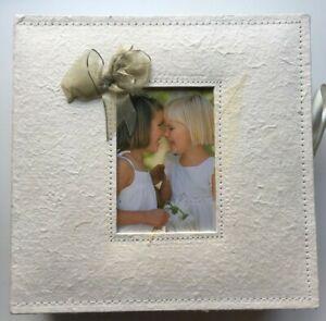 Handmade Natural Paper Keepsake Box Photo Album - NIB - Bows Leaves  Cream Green
