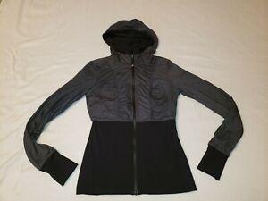 LULULEMON 8 Dance Studio Jacket Full Zip Hoodie Reversible Black Coal Grey