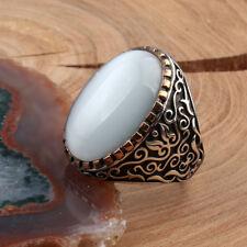 Handmade pure 925 SILVER ring White Amber stone Men sizes wedding RRP £60