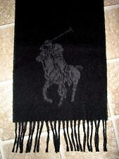 POLO-RALPH LAUREN Black/ Charcoal Reversible BIG PONY Wool Scarf (ITALY)